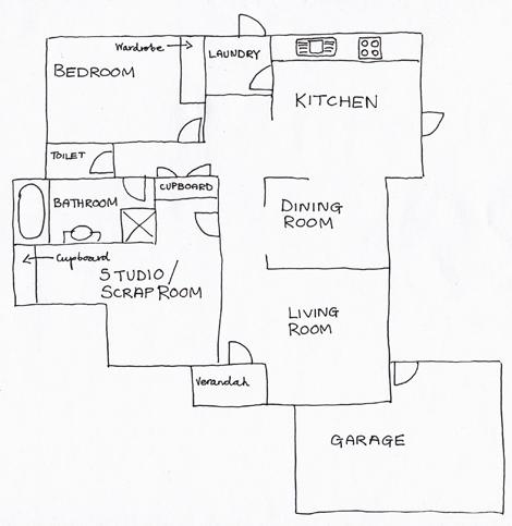 Hand-drawn Yellow House Plan web size