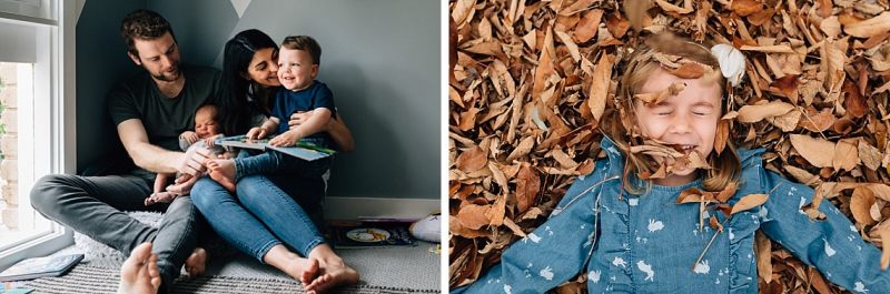Family reading together, girl laying in autumn leaves / Newborn and Family Photographer Melbourne