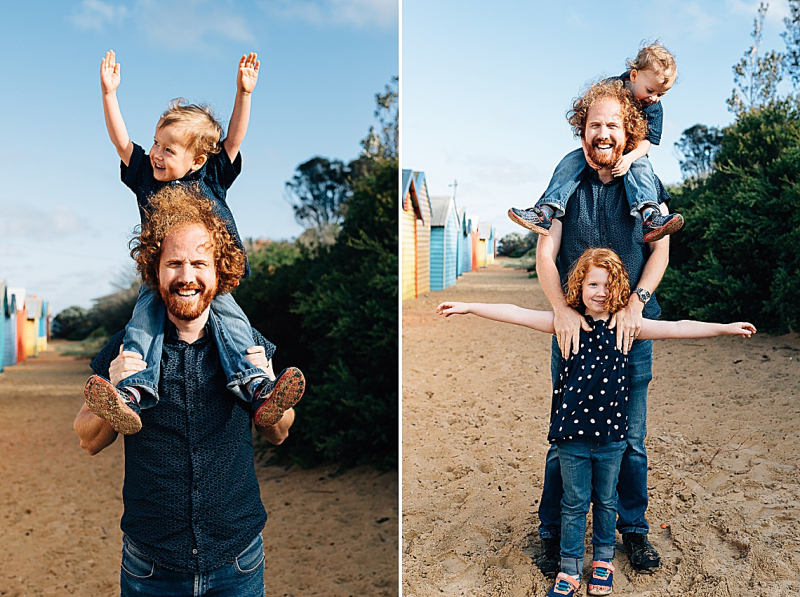 father with kids during Brighton bathing boxes Family Photo Session